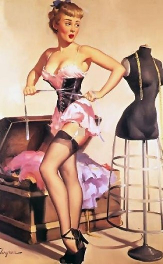 Another beautiful illustration by Gil Elvgren. My caption for this one is 'Wearing some ill-fitting clothes'