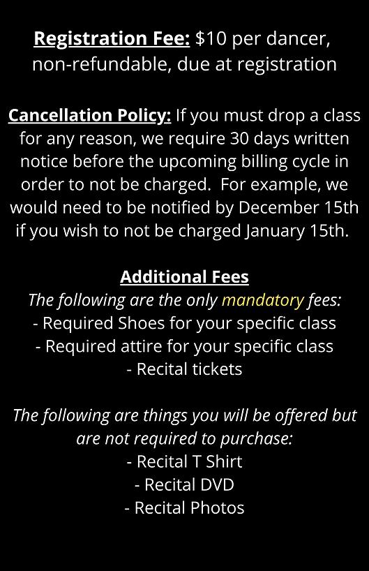 Registration Fee $10 per dancer, non-ref