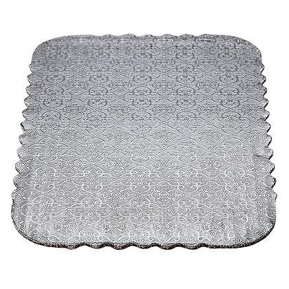 O'Creme Silver Scalloped Rectangular Double-Wall Cake Boards