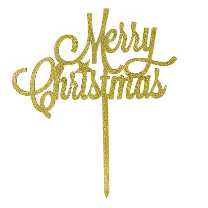 O'Creme Gold 'Merry Christmas' Cake Topper