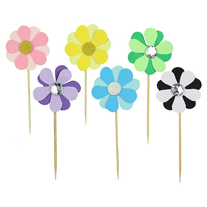 O'Creme Flower Cake Toppers, Pack of 6