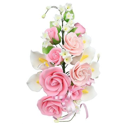"""O'Creme Gumpaste Rose & Calla Lilies Spray, 7"""" x 12"""" - 1 piece"""