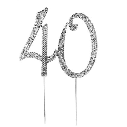 O'Creme Silver Rhinestone 'Number Forty' Cake Topper