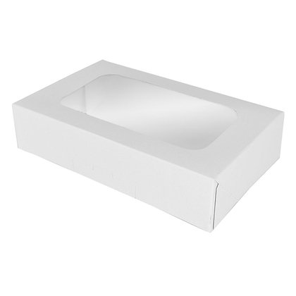 "O'Creme White Treat Box with Window, 8.5"" x 5.5"" x 2"", Pack of 5"