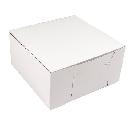 "O'Creme One Piece White Cake Box, 10"" x 10"" x 4"" High, Case of 100"