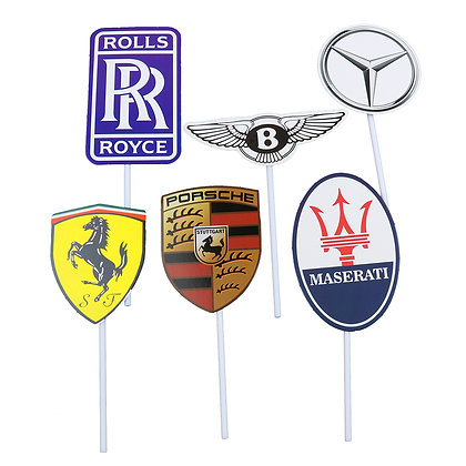 O'Creme Car Symbols Cake Toppers, Pack of 6