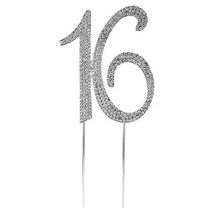 O'Creme Silver Rhinestone 'Number Sixteen' Cake Topper