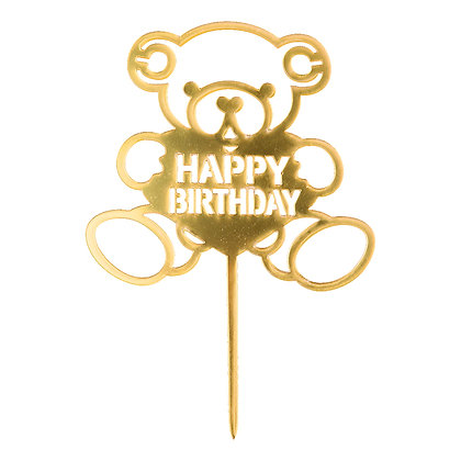 O'Creme Gold Happy Birthday in Teddy Bear Cake Topper