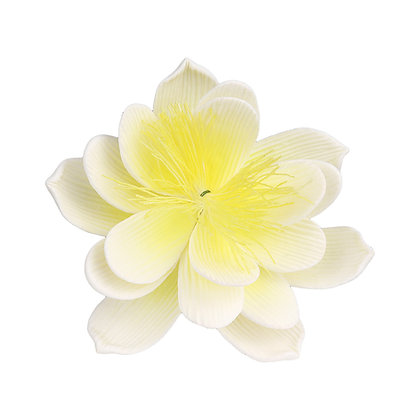 O'Creme White with Yellow Waterlily Gumpaste Flowers - Set of 3