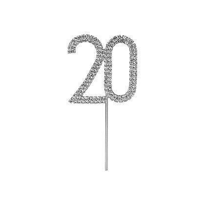 O'Creme Silver Rhinestone 'Number Twenty' Cupcake Topper