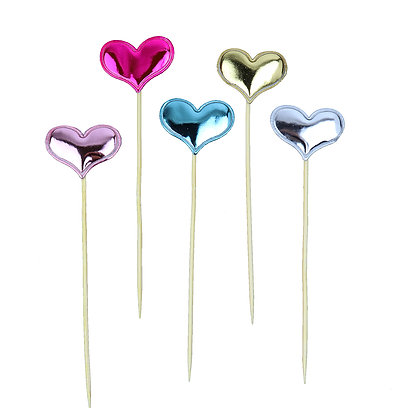 O'Creme Colored Heart Cake Toppers, Pack of 45
