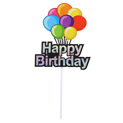 O'Creme Happy Birthday with Balloons Cake Topper