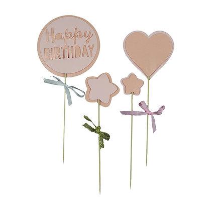 O'Creme Pink Happy Birthday Cake Topper, Set of 4