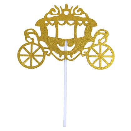 O'Creme Gold Carriage Cake Toppers, Pack of 10