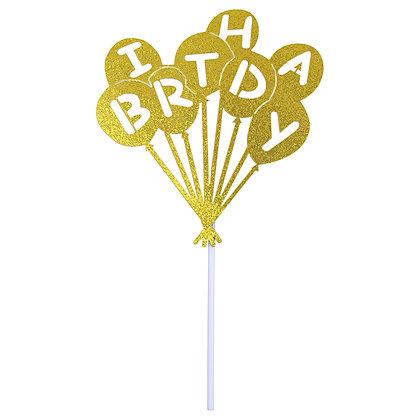 O'Creme Gold Happy Birthday Balloons Cake Topper