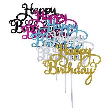 O'Creme Happy Birthday Cake Toppers, Set of 10