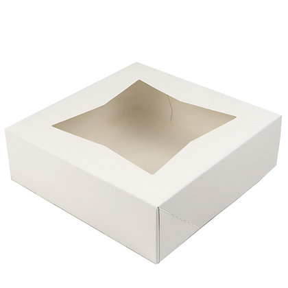 """O'Creme White Pie Box with Window, 8"""" x 8"""" x 2.5"""" - Pack of 5"""