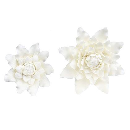 O'Creme White Pointed Dahlia Gumpaste Flowers - Set of 6