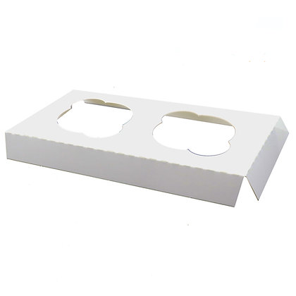 O'Creme White Cardboard Insert for Cupcakes, 2 Cavities