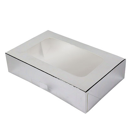 "O'Creme Silver Treat Box with Window, 8.5"" x 5.5"" x 2"", Pack of 5"