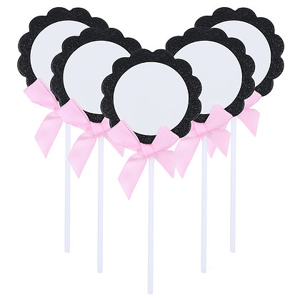 O'Creme Black & White Flower with Pink Bow Cake Toppers, Pack of 5