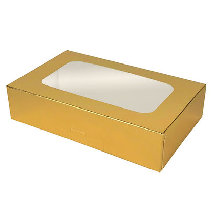 "O'Creme Gold Treat Box with Window, 8.5"" x 5.5"" x 2"", Case of 200"