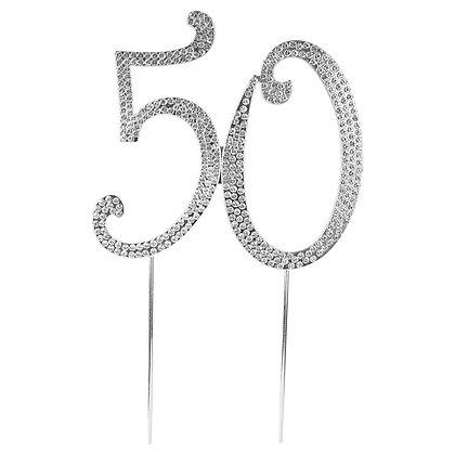 O'Creme Silver Rhinestone 'Number Fifty' Cake Topper