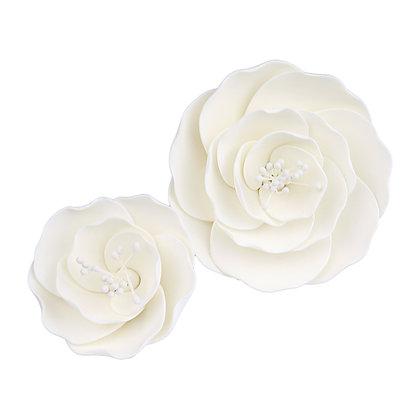 O'Creme White Briar Rose Gumpaste Flowers - Set of 6