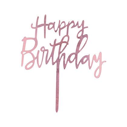 O'Creme Pink Script Happy Birthday Cake Topper