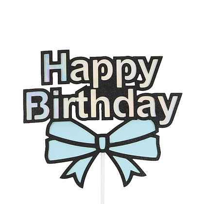 O'Creme Happy Birthday with Bow Cake Topper