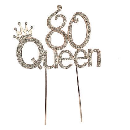 O'Creme Gold Rhinestone '80 Queen' Cake Topper