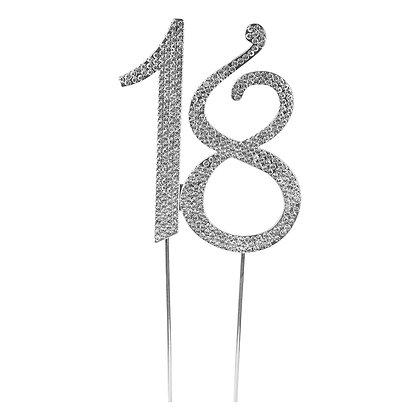 O'Creme Silver Rhinestone 'Number Eighteen' Cake Topper