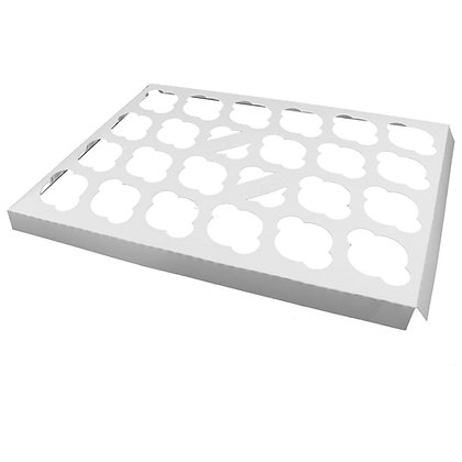 O'Creme White Cardboard Insert for Mini Cupcakes, 24 Cavities - Pack Of 100