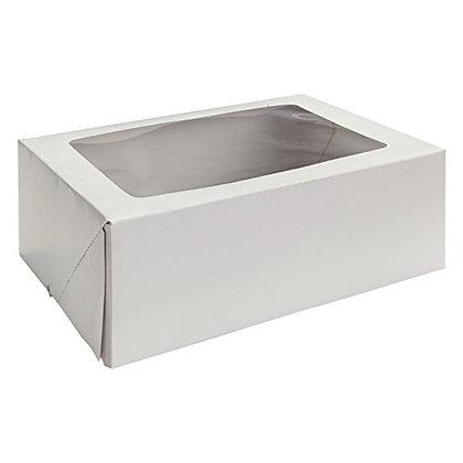 "O'Creme White Rectangular Cake Box, 14"" x 10"" x 5"" - Pack of 5"