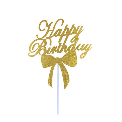 O'Creme Gold Paper Happy Birthday Cake Toppers, Pack of 10