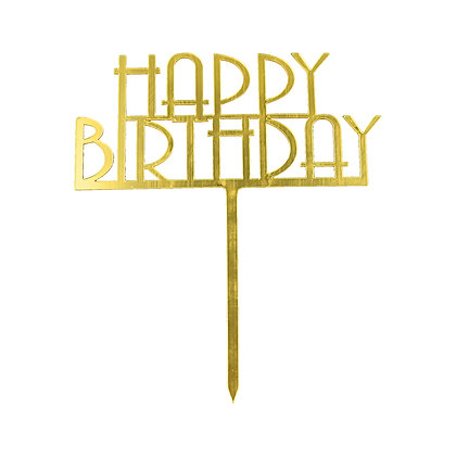 O'Creme Gold Happy Birthday Cake Topper
