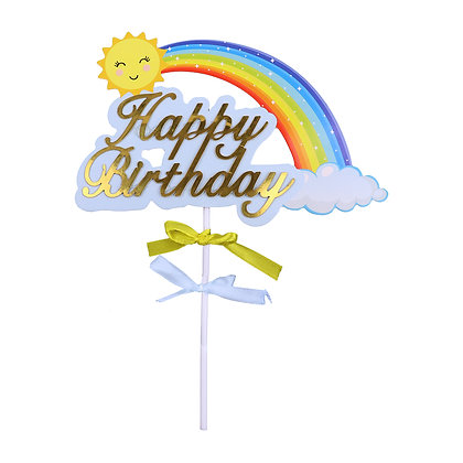 O'Creme Happy Birthday Rainbow Cake Topper