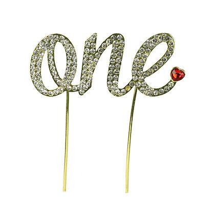 O'Creme Gold Rhinestone 'One' Cake Topper