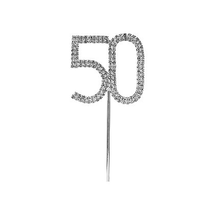 O'Creme Silver Rhinestone 'Number Fifty' Cupcake Topper