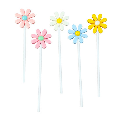 O'Creme Colored Daisy Cake Toppers, Pack of 5