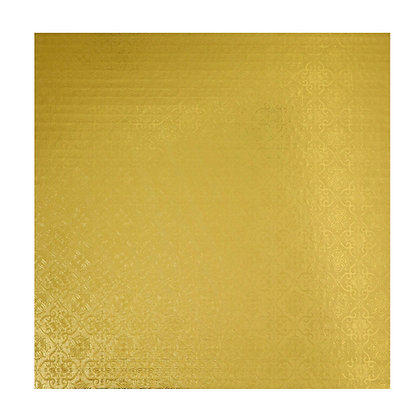 "O'Creme Square Gold Cake Drum Board, 9"" x 1/4"" Thick, Pack of 10"