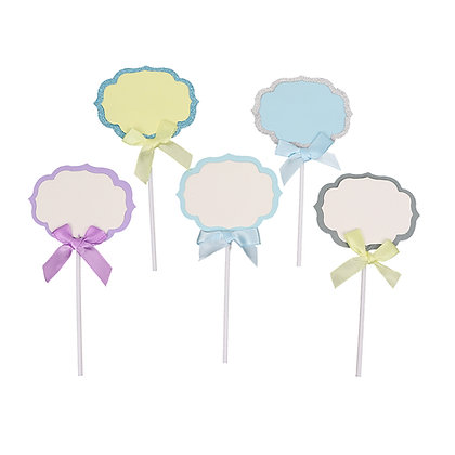 O'Creme Assorted Plaque Cake Toppers, Pack of 5