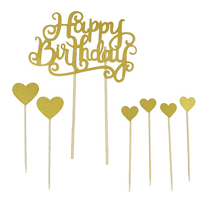 O'Creme Happy Birthday and Hearts Cake Toppers