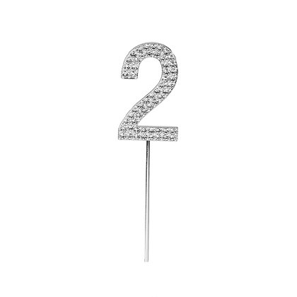 O'Creme Silver Rhinestone 'Number Two' Cupcake Topper