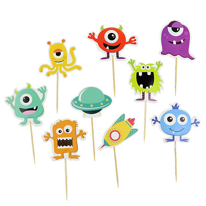 O'Creme Cartoon Cake Toppers, Set of 9