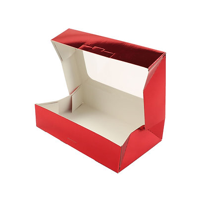 """O'Creme Red Treat Box with Window, 8.5"""" x 5.5"""" x 2"""", Case of 200"""