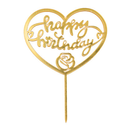 O'Creme Gold Happy Birthday in Heart Cake Topper