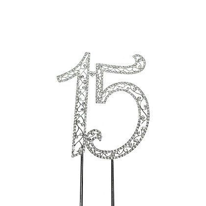 O'Creme Silver Rhinestone 'Number Fifteen' Cake Topper