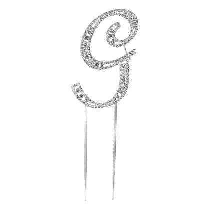 O'Creme Silver Rhinestone 'Letter G' Cake Topper