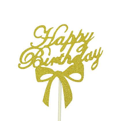 O'Creme Gold Paper Happy Birthday Cake Topper